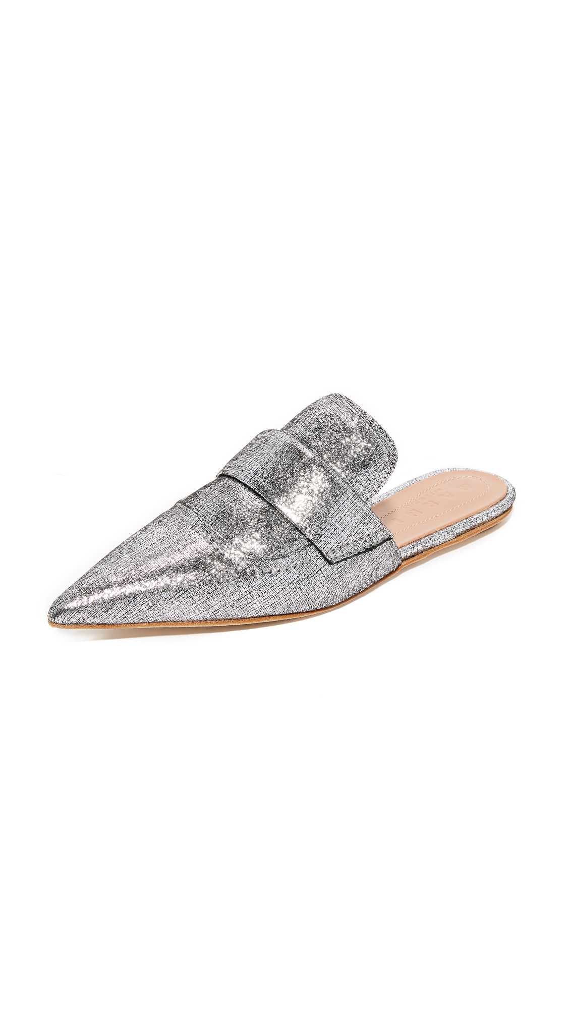Marni Flat Mule Slides - Silver