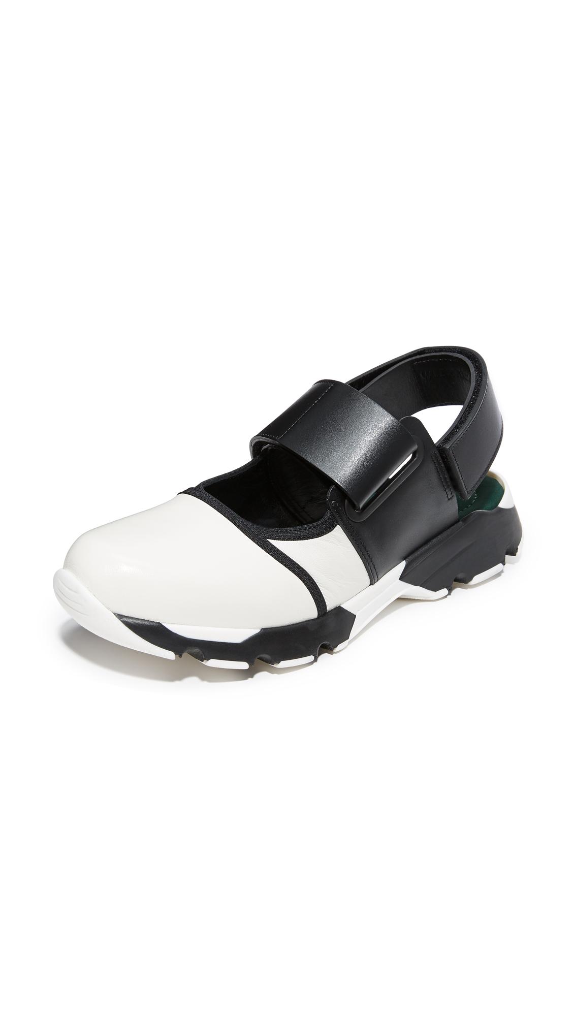 Marni Sneaker Flats - Limestone/Black