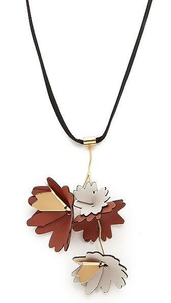 Marni Leather Flowers Necklace - Fog