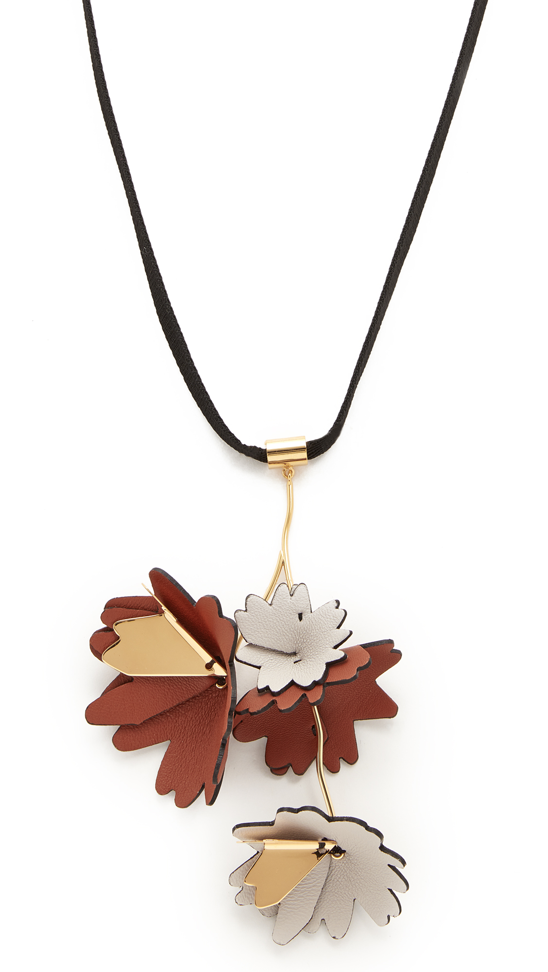 Marni Leather Flowers Necklace - Fog
