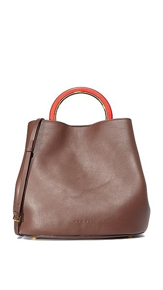 Marni Shoulder Bag - Chestnut/Anthracite/Orange Red