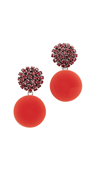 Marni Strass Clip On Earrings - Red