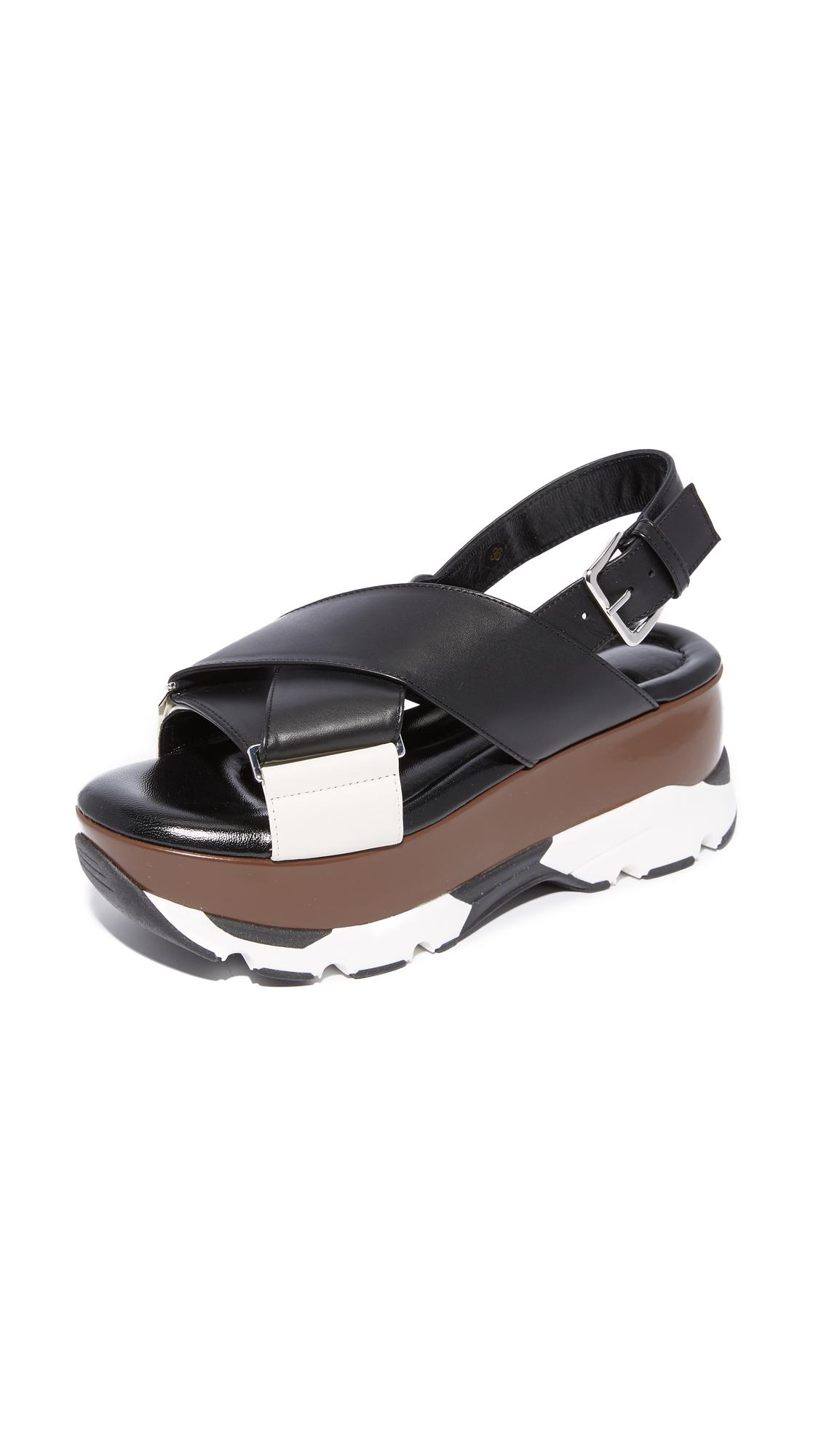 Marni Platform Sandals - Black/Limestone