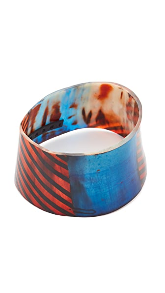 Marni Painted Bracelet in Horn - Blue China