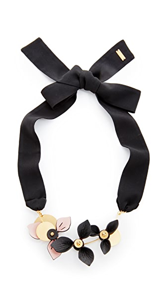 Marni Necklace with 3 Leather Flowers - Black