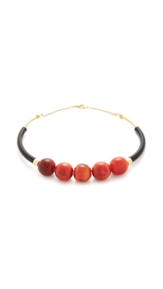 Marni Horn Sphere Necklace - Light Orange