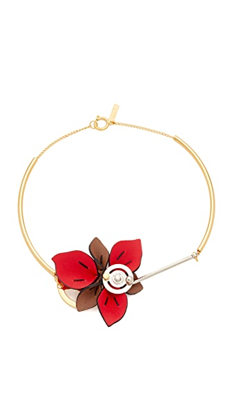 Marni Collier with Leather Flower - Hot Red