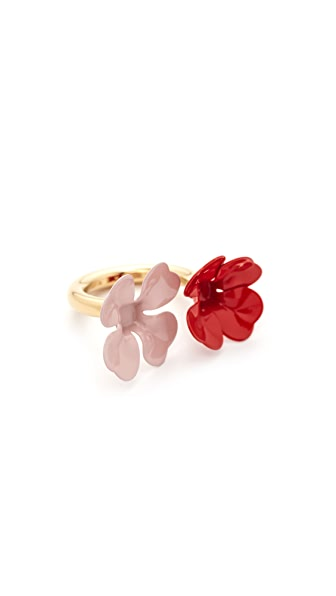 Marni Ring with Metal Flower - Red