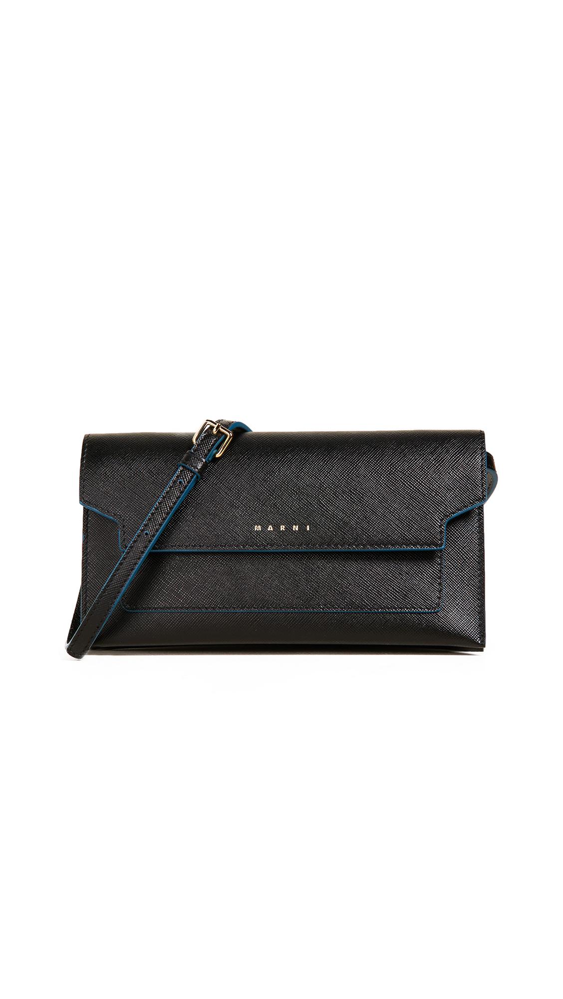 Marni Cross Body Wallet - Black/Gold Brown