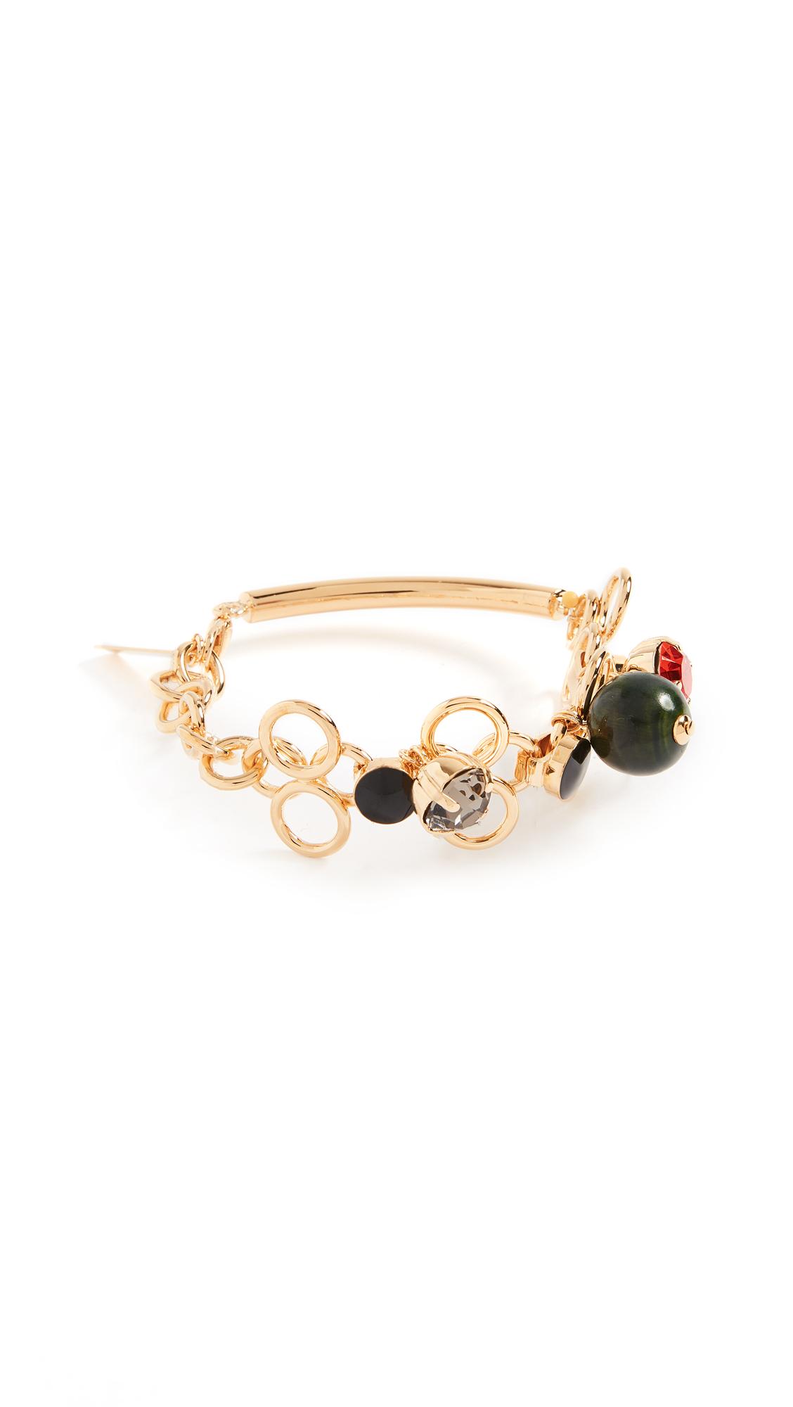 Marni Metal Horn Strass Bracelet - Emerald