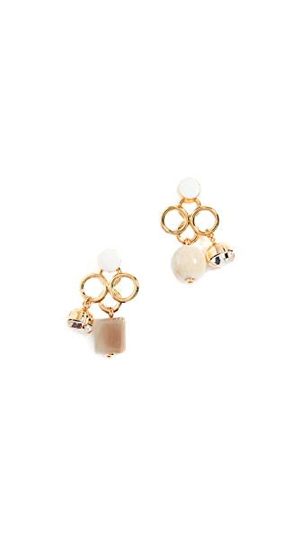 Marni Metal Horn Strass Earrings In Pale Gold