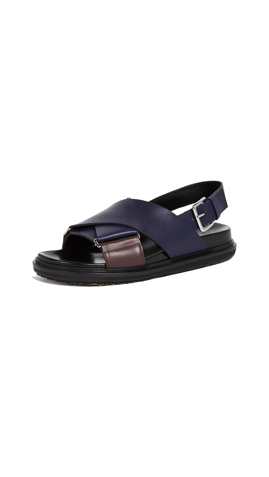 Marni Fussbett Sandals - Burgundy/Ocean