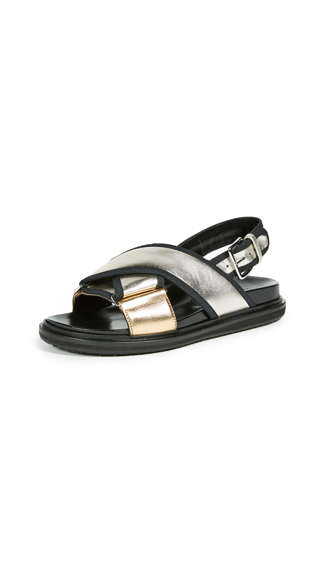 Marni Fusbett Sandals with Buckle - Light Gold Sand/Silver
