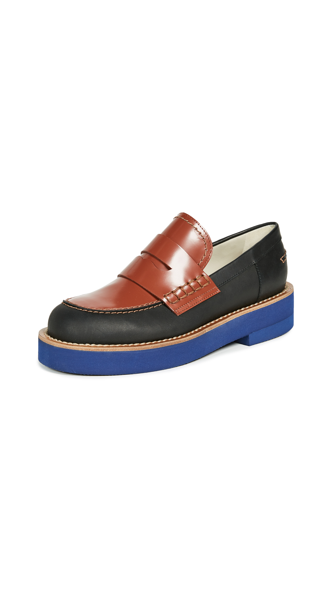 Marni Flat Loafers - Black/Tobacco