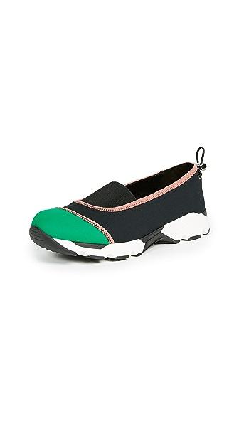 Marni Slip On Joggers In Black/Garden Green/Quartz