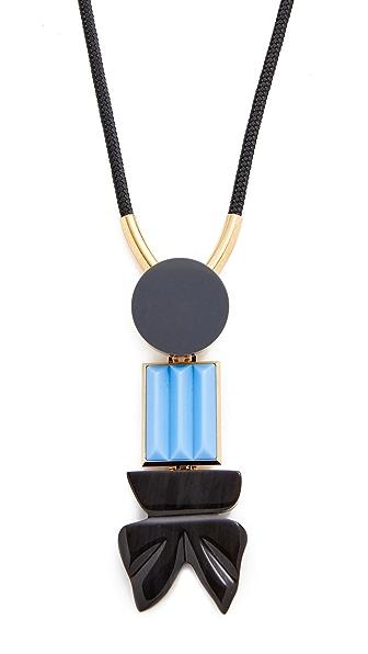 Marni Resin Tie Necklace - Antique Silver