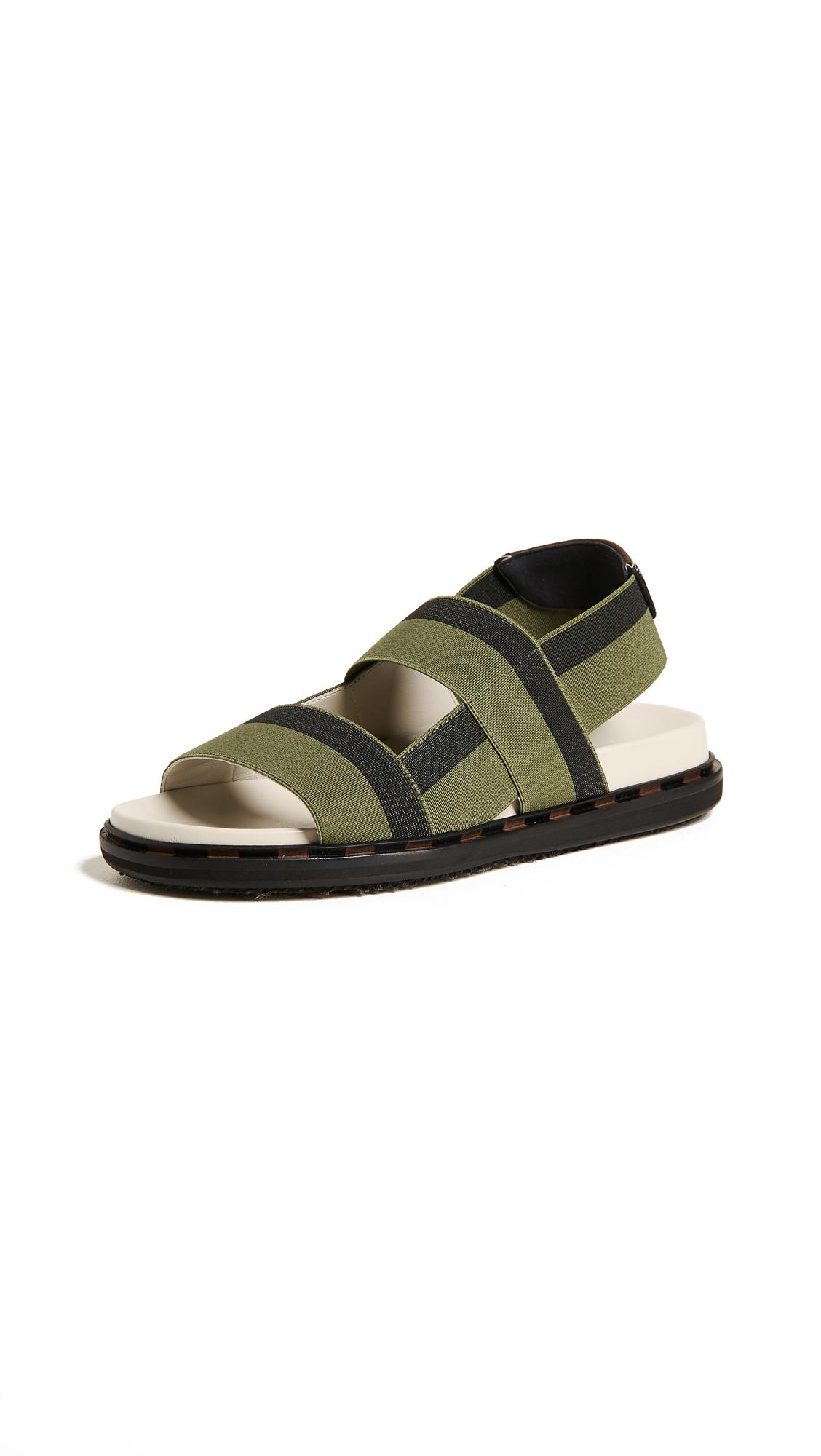 Marni Fussbett Sandals - Nero/Verde