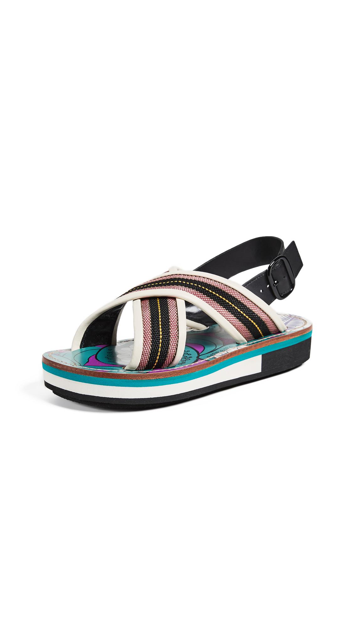 Striped Leather-Trimmed Slingback Sandals, Nero/Samoa