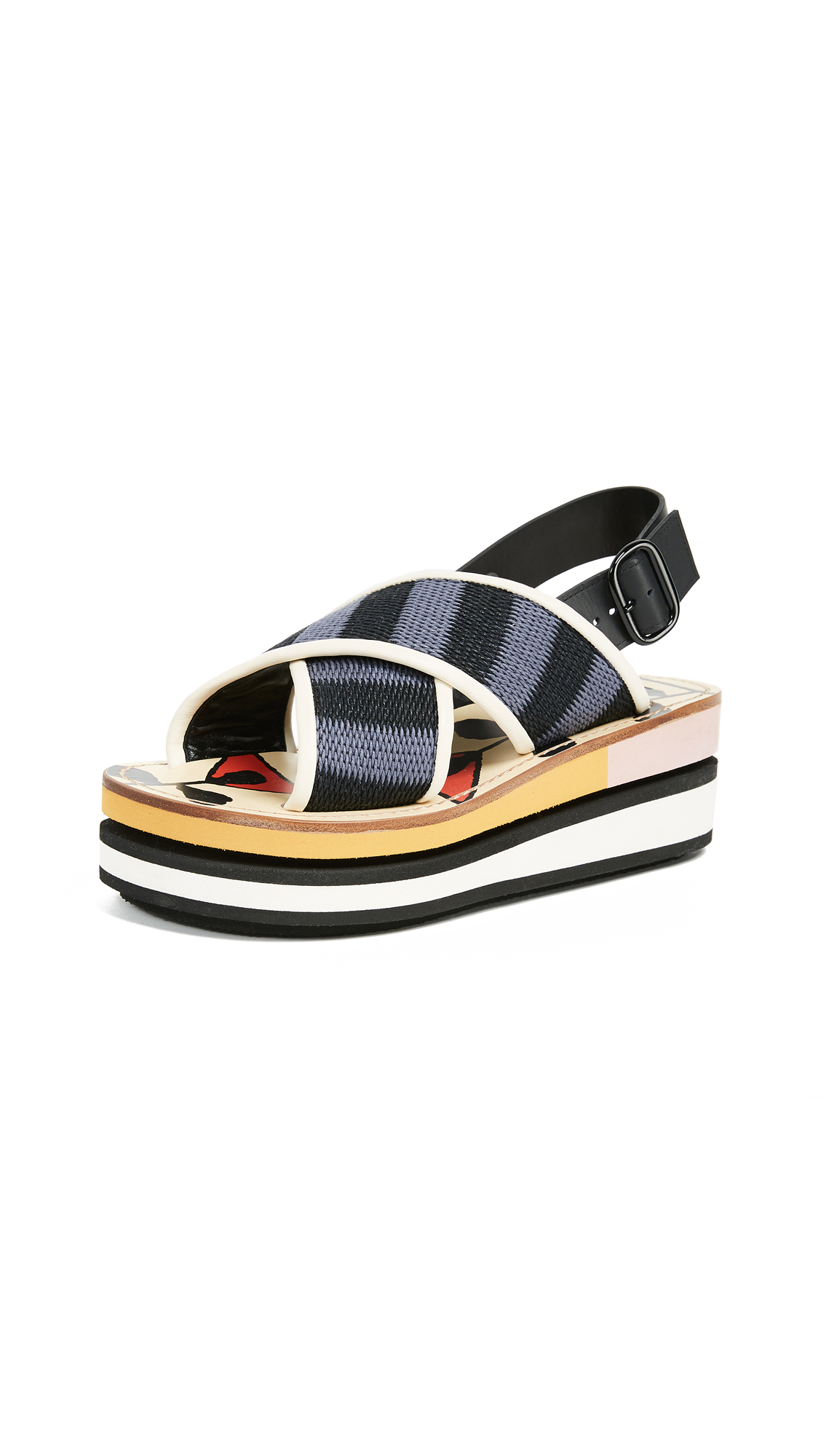Marni Platform Sandals - Black/Cobalt
