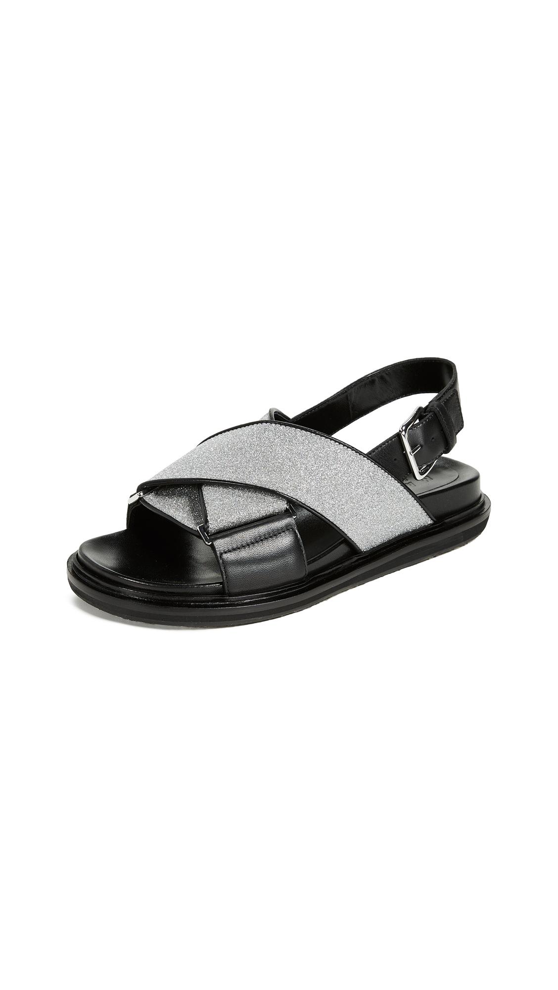 Marni Fussbett Sandals - Silver/Black