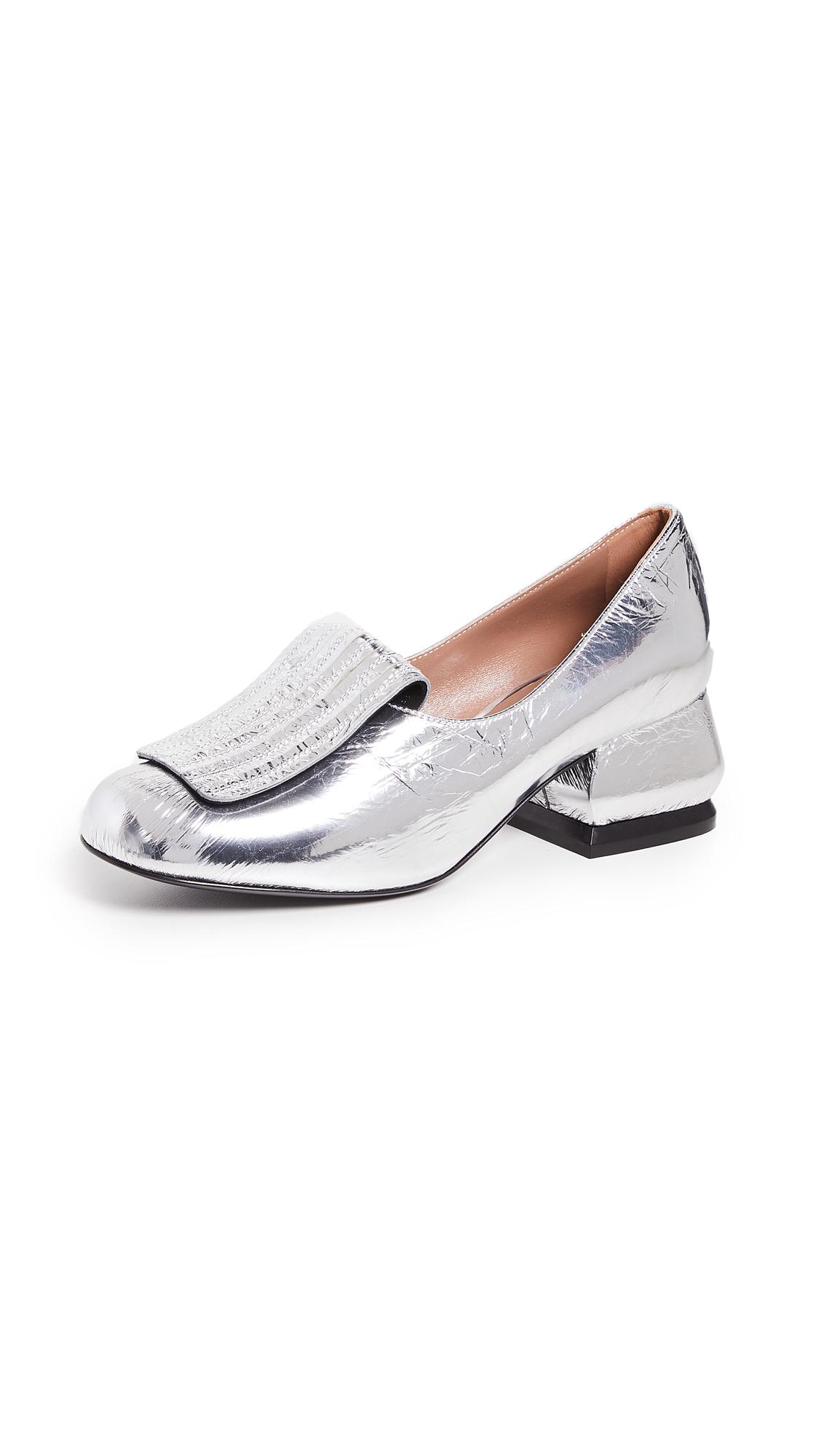 Marni Metallic Loafer Pumps - Silver