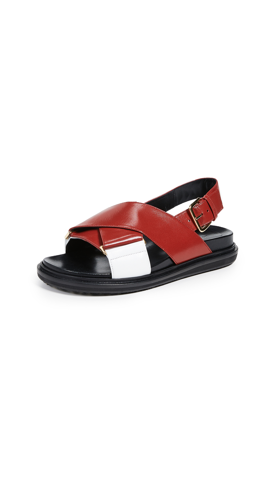 Marni Fussbett Sandals - Hot Red/Lily White