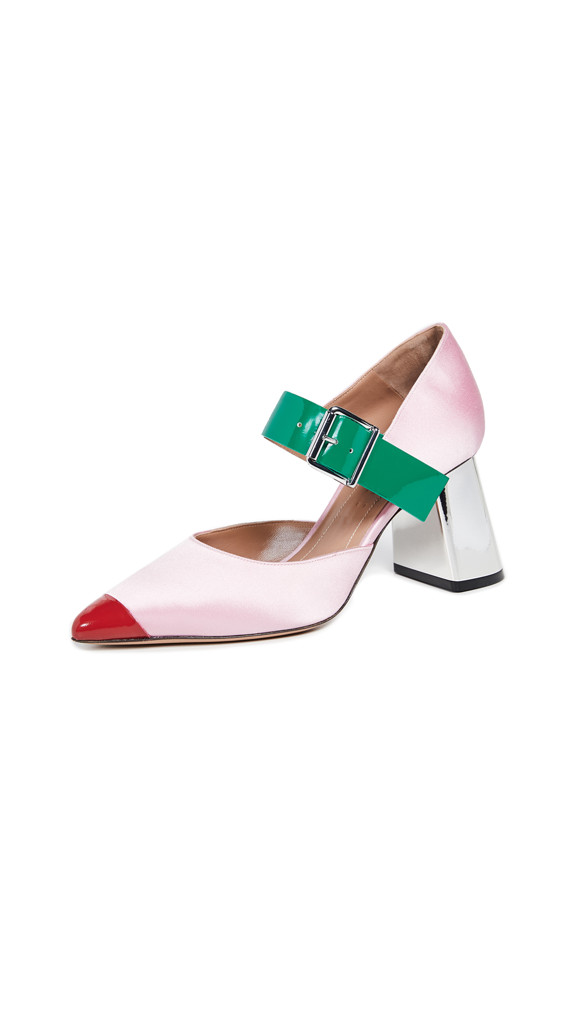 Marni Mary Jane Pumps - Light Pink/Forest Green