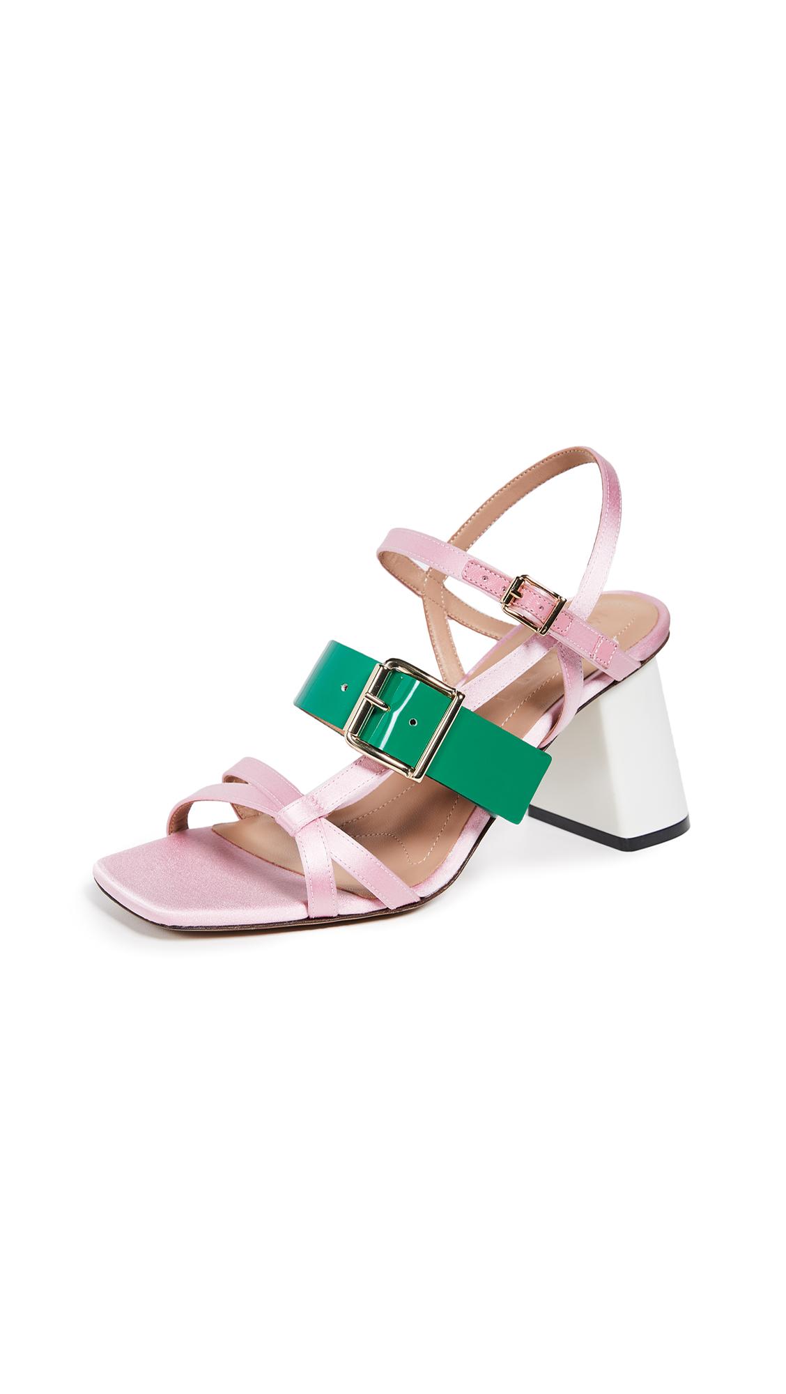 Marni High Heel Sandals - Light Pink/Forest Green