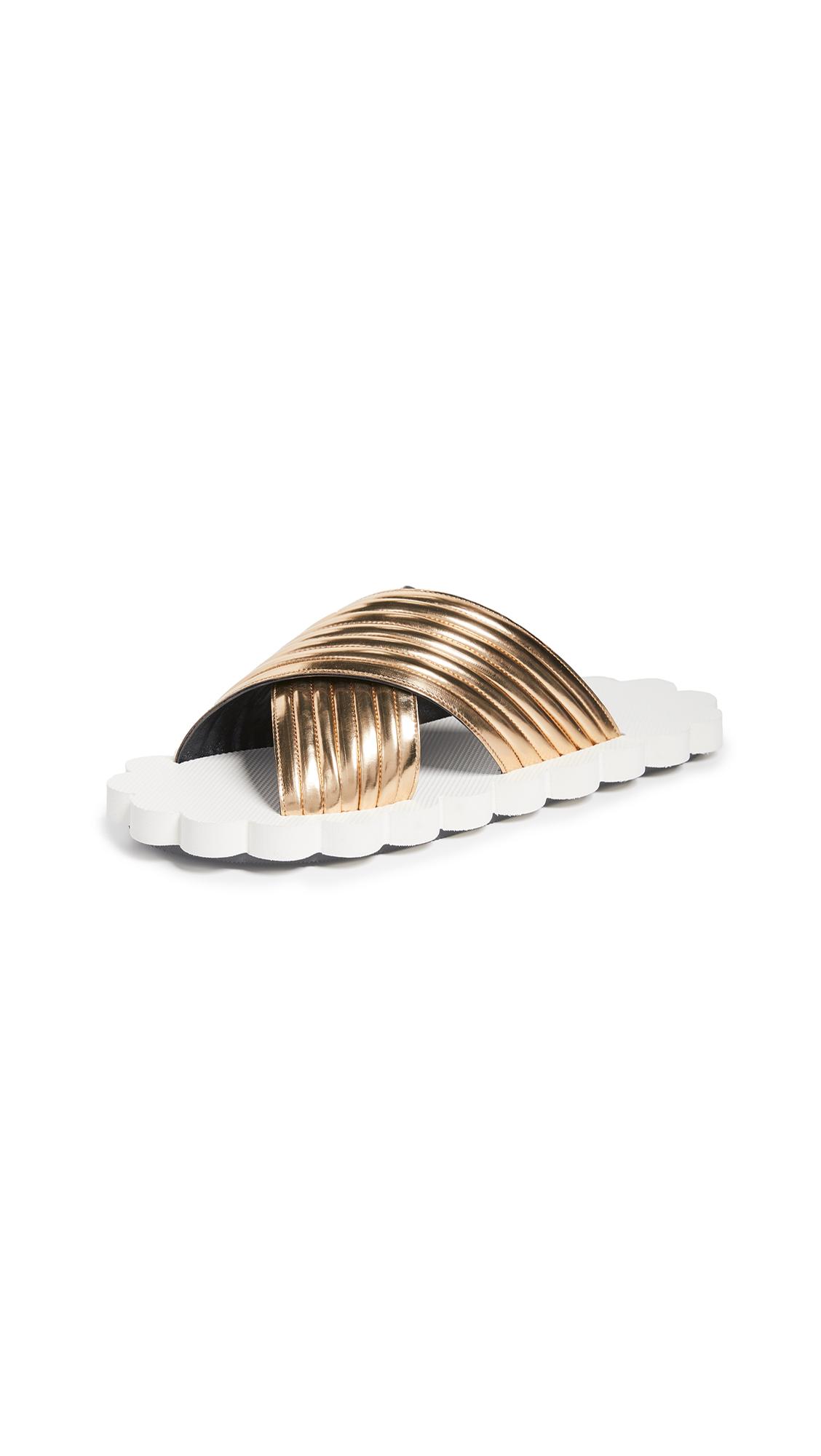 Marni Crisscross Slides - Light Gold Sand