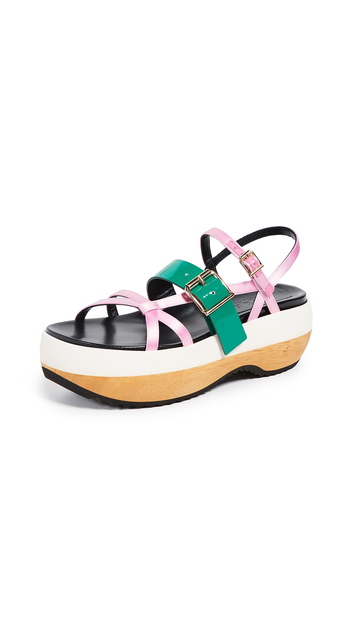 Marni Wedge Sandals - Light Pink/Forest Green