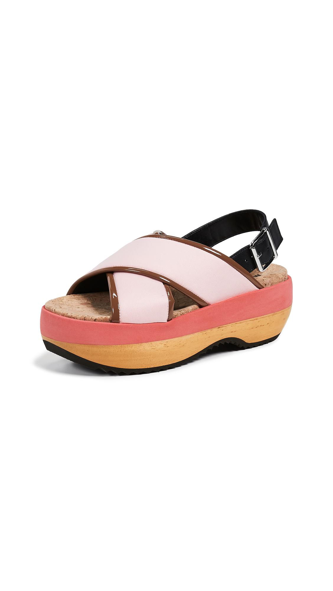 Marni Wedge Crisscross Sandals - Light Pink/Marmot