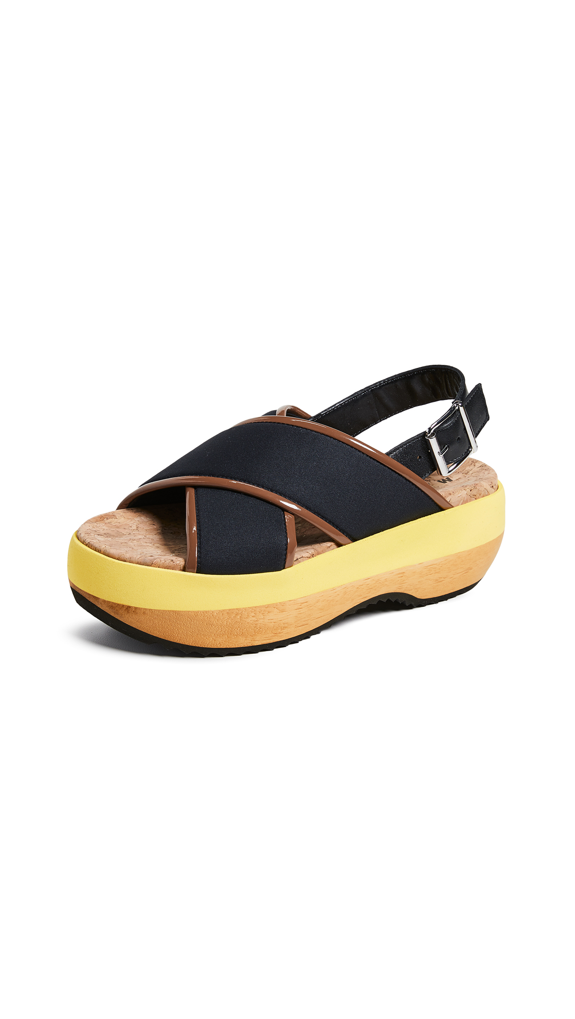 Marni Wedge Criss Cross Sandals - Black/Marmo