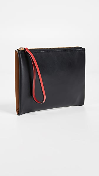 Pochette Color-Block Leather Wristlet in Black/Mocha/Hot Red