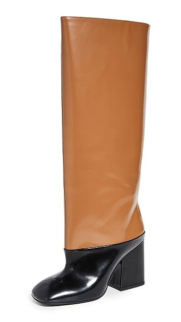 Photo of  Marni Tall Heeled Colorblock Boots- shop Marni Boots, Flat online sales