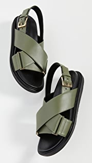 Marni Leather Crisscross Sandals