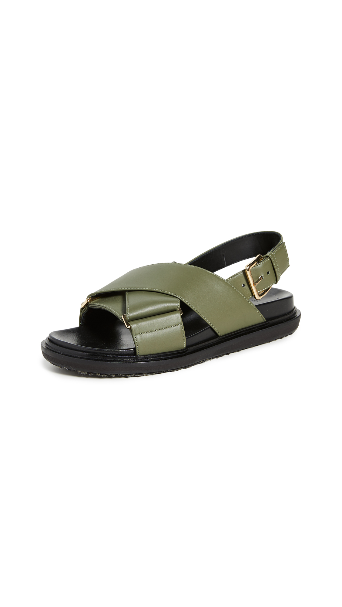 Buy Marni online - photo of Marni Leather Crisscross Sandals