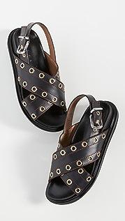 Marni 交叉金属扣眼凉鞋