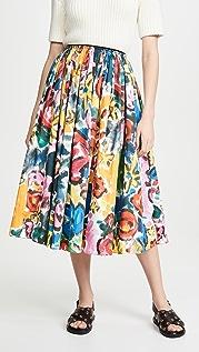Marni 印花喇叭中长半身裙