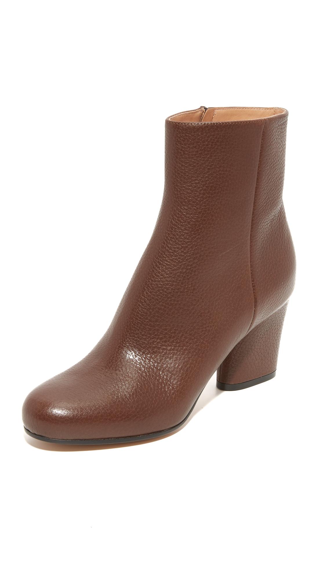 Maison Margiela Leather Booties - Dark Brown