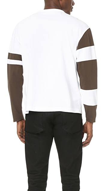 Marni Oversized Long Sleeve Tee with Contrast Patches