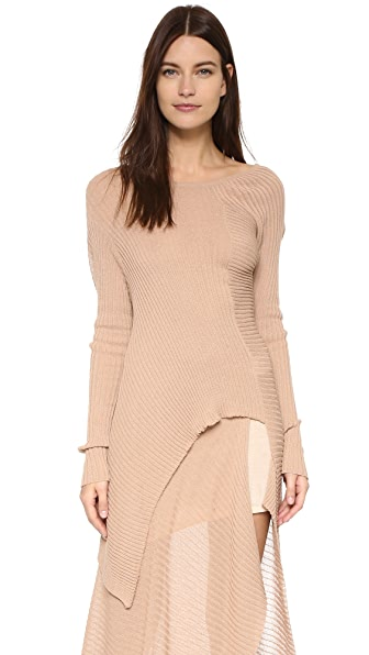Marques Almeida Deconstructed Off Shoulder Sweater