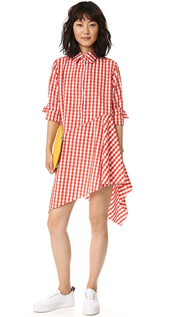 Marques Almeida Asymmetrical Raw Hem Shirtdress