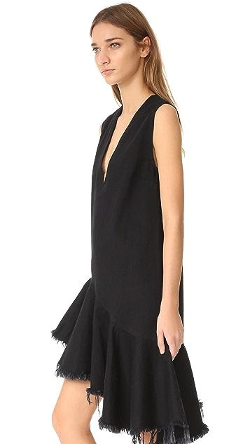 Marques Almeida Denim Sleeveless V-Neck Dress