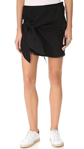 Marques Almeida Denim Knotted Mini Skirt - Black
