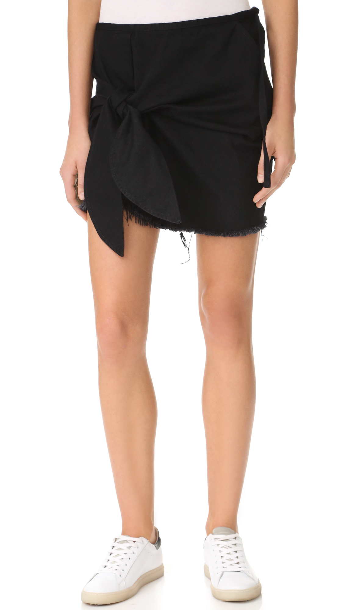 Marques Almeida Denim Knotted Mini Skirt - Black
