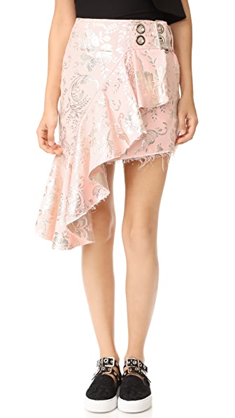 Marques Almeida Brocade Wrap Skirt In Pink/Silver