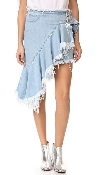 Marques Almeida Buckle Belt Skirt In Baby Blue
