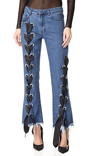 Marques Almeida Cropped Lace Up Capri Denim Trousers