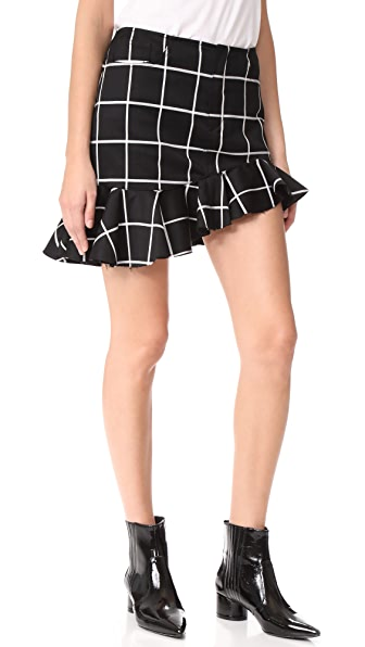 Marques Almeida Grid Suiting Ruffle Miniskirt In Black/White