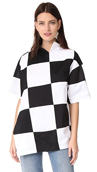 Marques Almeida Checkerboard Oversize T-Shirt - White & Black